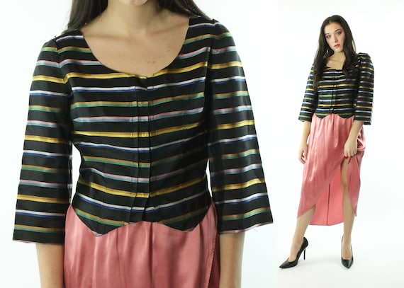 Vintage 40s Cocktail Blouse Striped Satin Cropped