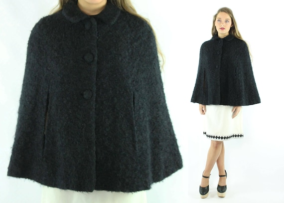 100% authentisch große Auswahl an Designs neuer Stil & Luxus 50er Jahre schwarz Faux Pelz Cape Mantel Poncho Wrap Cocktail Party Mantel  Jacke Vintage 1950er Jahre kleine S Medium M Pinup Rockabilly