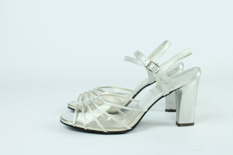 7e423819232 70s Disco Shoes Silver Clear Plastic Block Chunky Heel Pumps