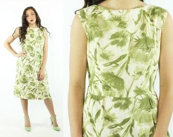 50s 60s Sheath Dress Green Floral Sleeveless Summer Sundress Vintage 1950s 1960s Large L Rockabilly Pinup