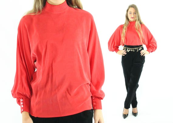 80's Red Silk Blouse Long Sleeve Shirt Vintage 198