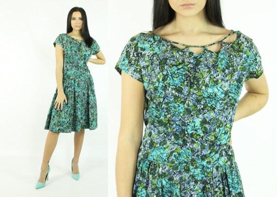 50's Dress Full Skirt Vintage 1950's Large L