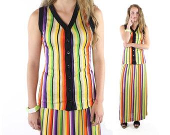 70s Maxi Skirt Vest Set NOS Vintage 1970s Small S