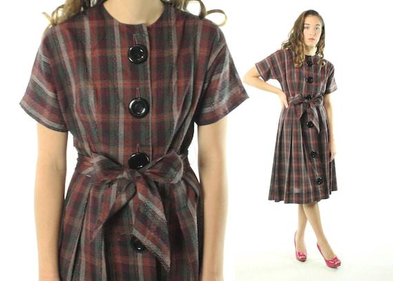Vintage 50/'s Dress Black Gray Plaid Checked Size Small Medium S M Cotton Pleated Skirt Belt Short Sleeve Plaid