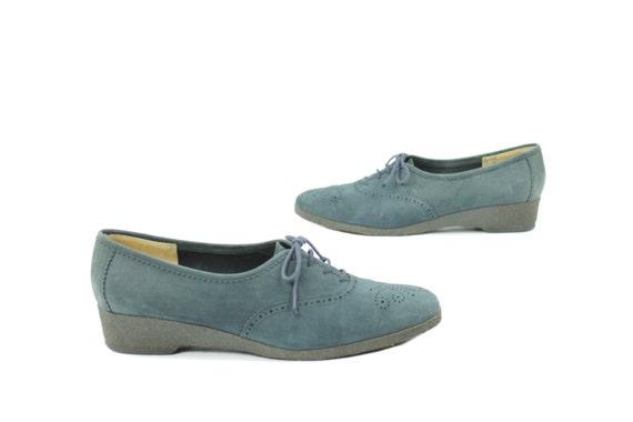 Vintage 70s Salvatore Ferragamo Oxford Shoes Blue
