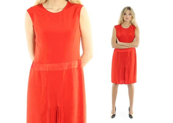 Vintage 80s Carolina Herrera Dress Orange Red Sil… - image 1