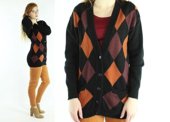 Vintage 80's Argyle Knit Cardigan Sweater 1980's S