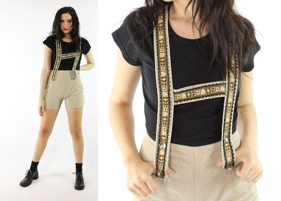 Vintage 60's Corduroy Shorts Romper 1960's Small S