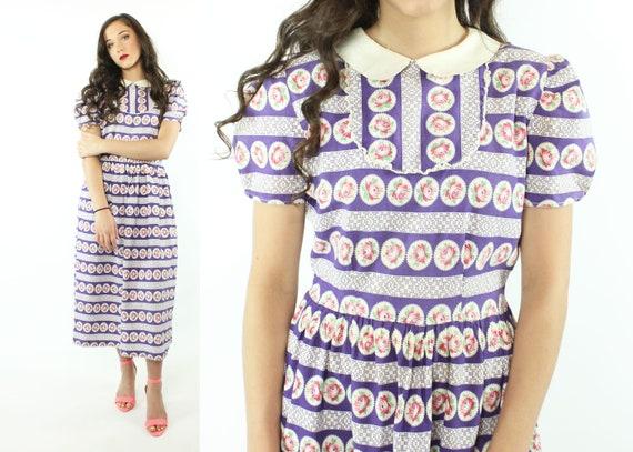 30s 40s Rose Print Cotton Dress Purple White Sund… - image 1