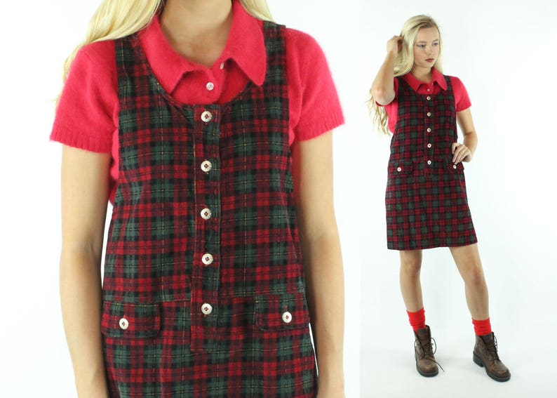 90f487453ae Vintage 90s Plaid Corduroy Jumper Dress Sleeveless Holiday