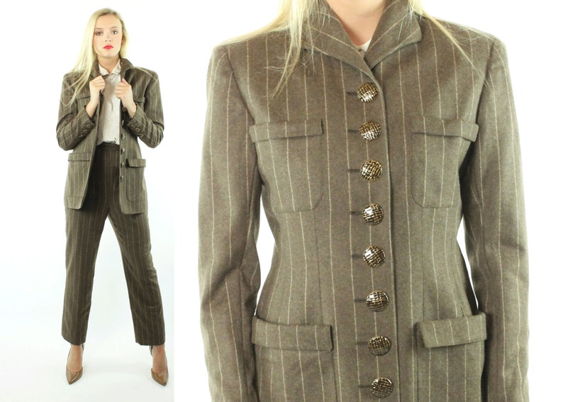 dd89a7d2 80s Valentino Boutique Suit Trousers Blazer Pants Jacket Brown   Etsy