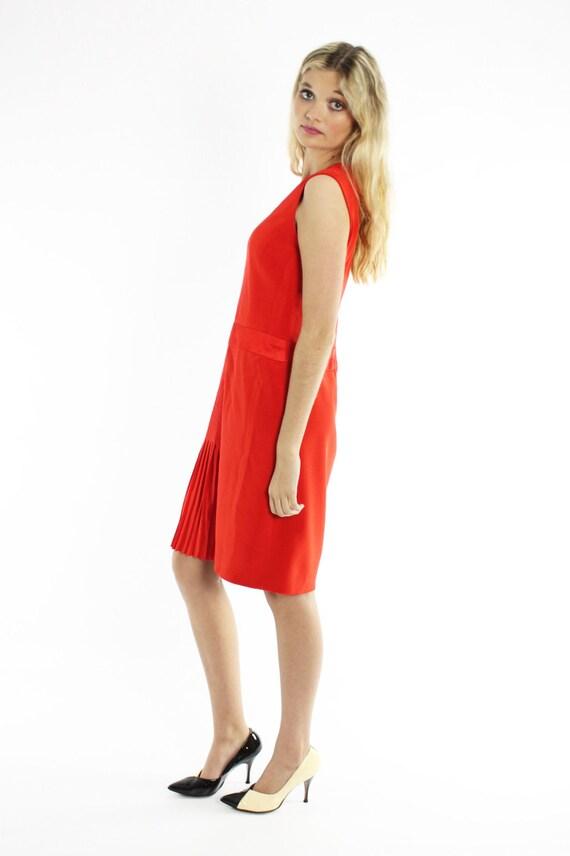 Vintage 80s Carolina Herrera Dress Orange Red Sil… - image 4