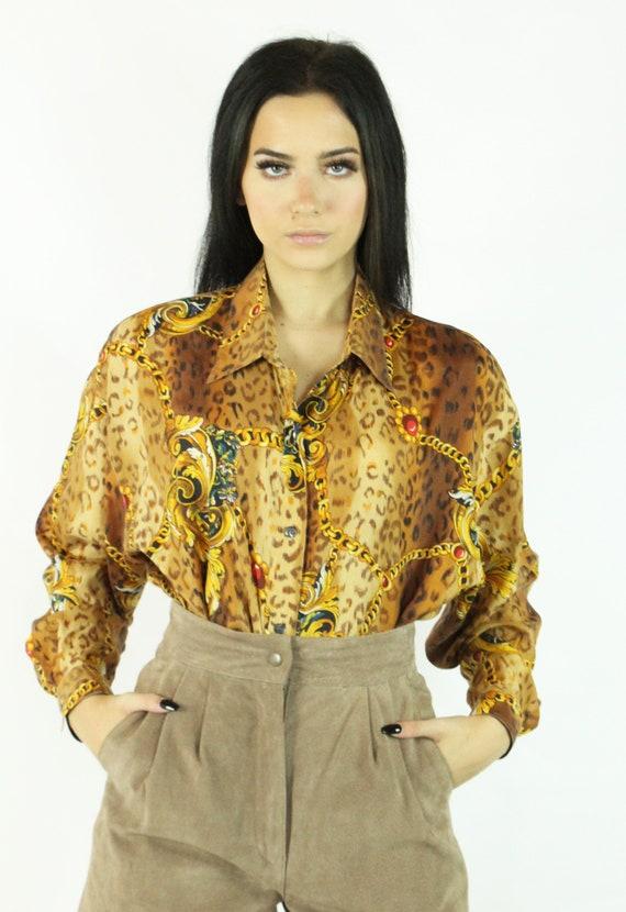 90's Leopard Print Silk Blouse Shirt Top Vintage … - image 3