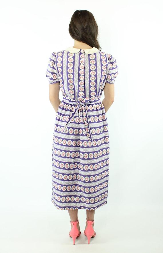 30s 40s Rose Print Cotton Dress Purple White Sund… - image 6