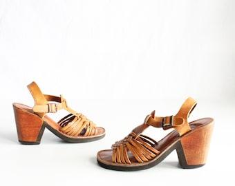 70's Woven Leather Sandals Pumps Size 6.5 6 1/2 Vintage 1970's Kinney Shoes
