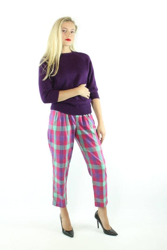 Vintage 80s Cropped Pants Plaid Capri High Waiste… - image 2
