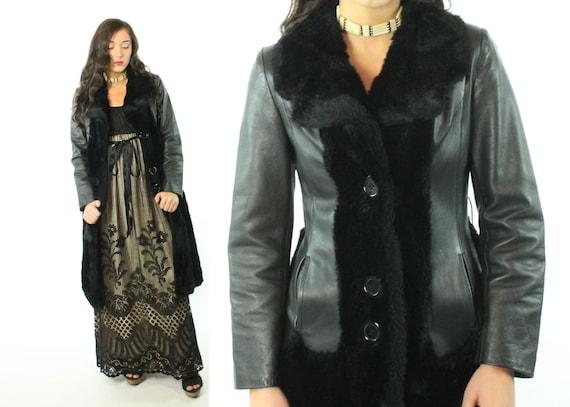 70s Black Vinyl Faux Fur Coat Vintage 1970s XS X-S