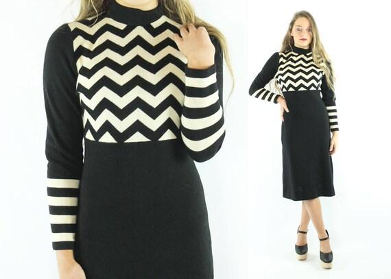 70s Striped Knit Sweater Dress Black White