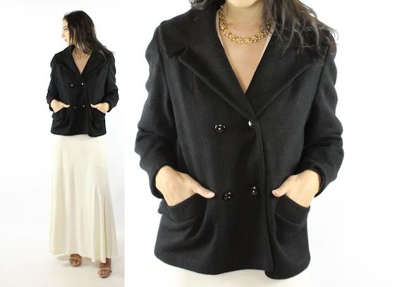 Vintage 50's Black Wool Coat 1950's Medium M