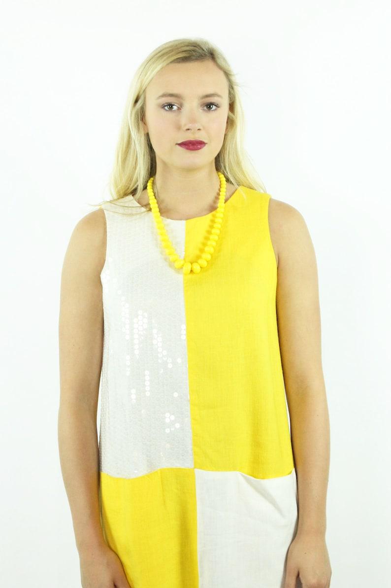 6c8f9516047 80s Color Block Shift Dress Sleeveless Sundress Yellow White