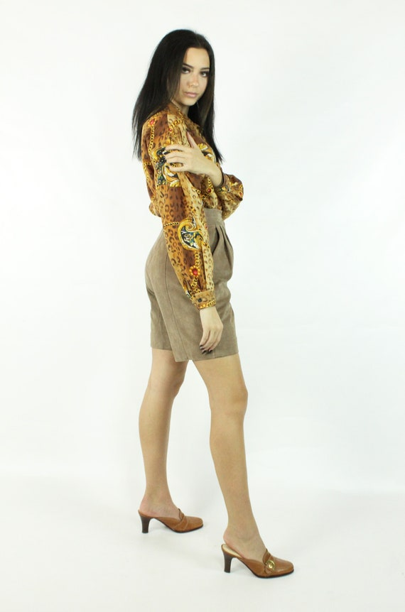 90's Leopard Print Silk Blouse Shirt Top Vintage … - image 6