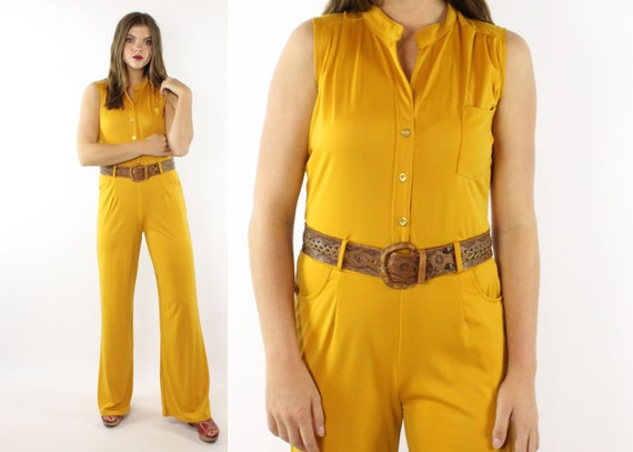 f2093995c3294 70 s Style Gold Jumpsuit Bell Bottoms