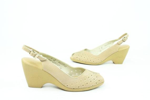 70er Jahre Peep Toe Sandalen Leder Pumps Tan Keile Schuhe Vintage 1970er Jahre Yo Yos Damen Größe 7
