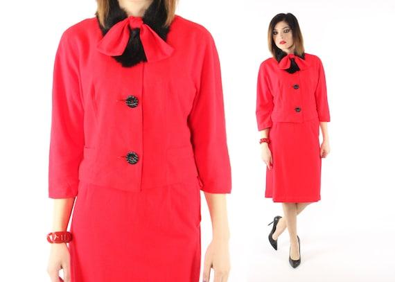 Vintage 60s Suit Fur Collar Red Blazer Jacket High