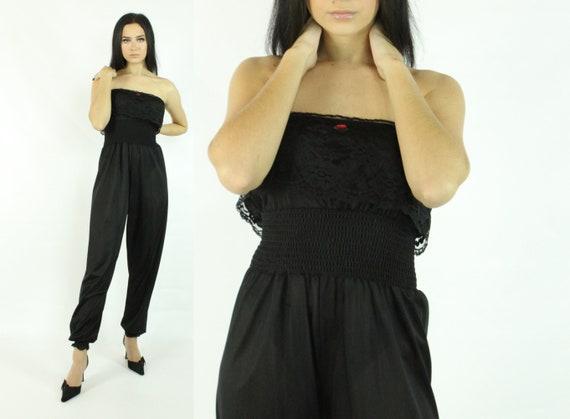 80's Black Jumpsuit Harem Pants Vintage 1980's Med