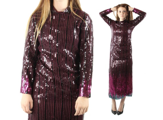 Vintage 70s Ruben Panis Dress Sequin Cocktail Disc