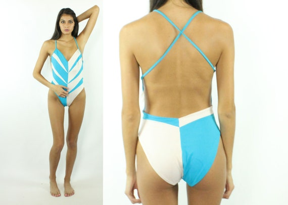 38c45dd8855 80s One Piece Swimsuit High Cut Bathing Suit Swimwear