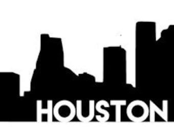 Houston City Skyline Laptop Decal