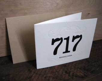 Area Code 717 Blank Greeting Card