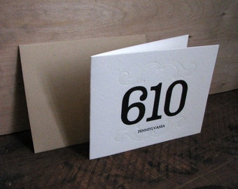 Area Code 610 Blank Greeting Card