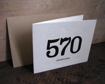 Area Code 570 Blank Greeting Card