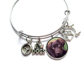 Dog Charm Bracelet / Dog Photo Charm / Pet Loss Gift / Dog Memorial Bracelet / Memorial Dog Gift / Memorial Photo Charm Bracelet