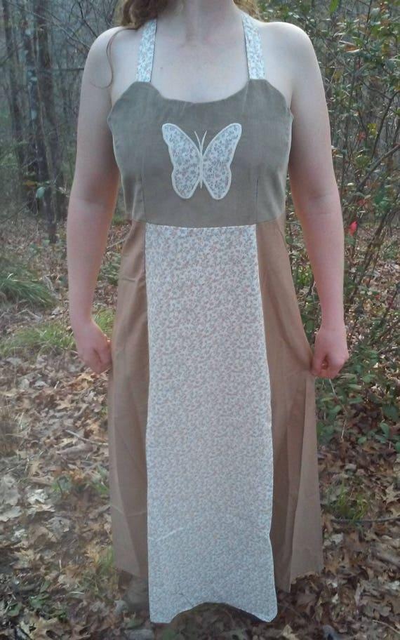 Corduroy Calico Dress, Recycled Corduroy Dress, Fe
