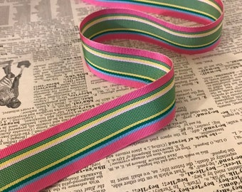 sold per yard bows Vintage Acetate Grosgrain Ribbon tote bag straps, hair bands 1 12 Black and rainbow Multi stripe for belts