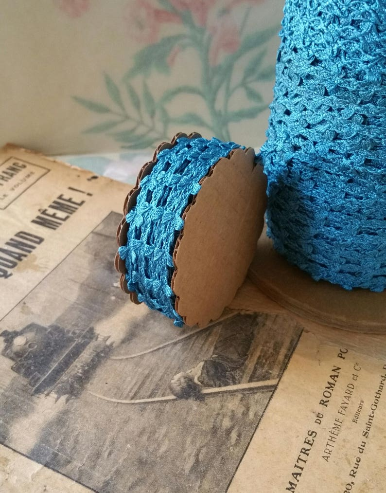 Limited Roll of 10 Yards Elegant 1930s Turquoise Blue 10mm Trim Ribbon Passementerie New Old Stock