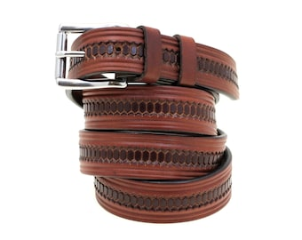 Men Or Women's 32mm Domed And Embossed Rich Brown Bridle Leather Belt With Stainless Steel Roller Buckle And Double Loops American Made