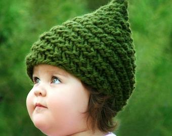 31f89a2e425 KNITTING PATTERN - Baby Gnome Hat Pattern - Sizes  (0-3mo 3-6mo 12-24mo 24-48mo 5-10yr) Pattern Includes English