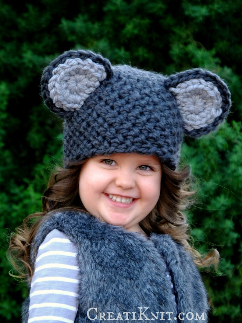 Crochet Pattern -The Meadow Mouse Hat (Newborn, Baby, Toddler, Child sizes)