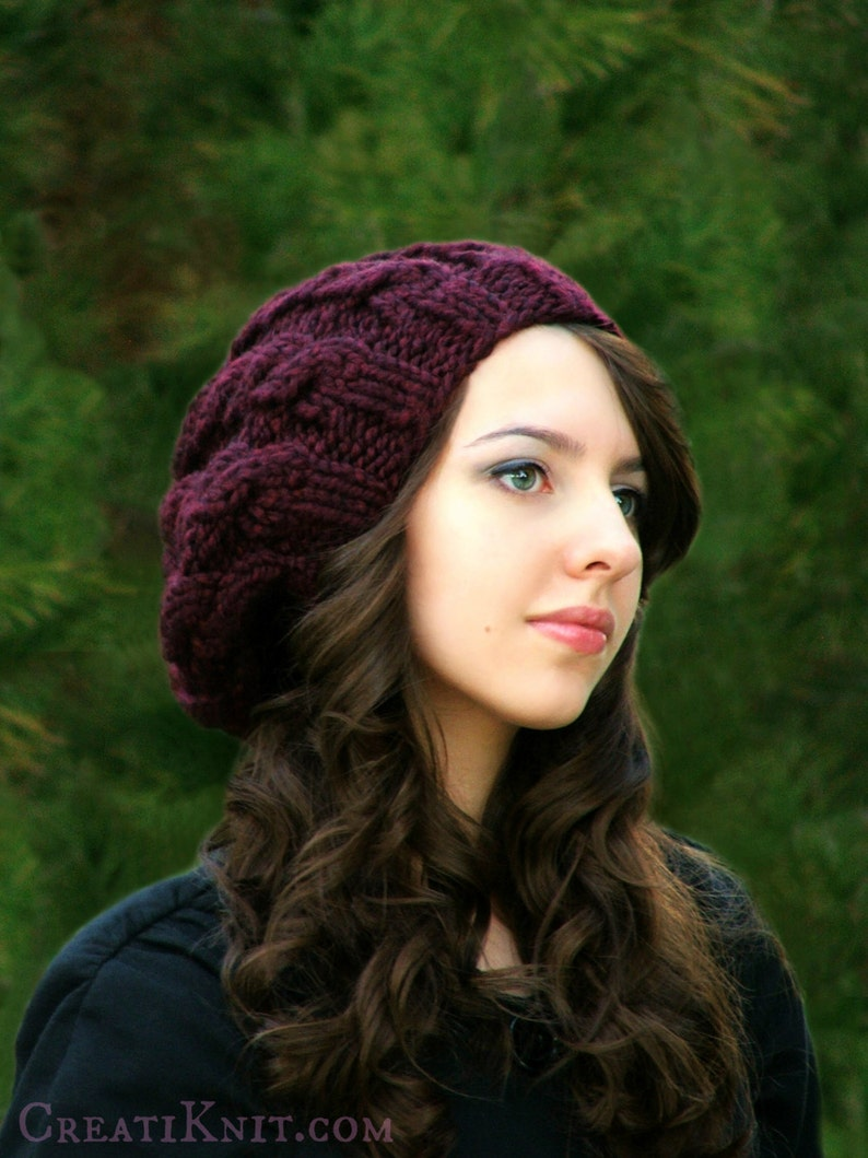 83525cfdd57 Knitting Pattern Adult Slouchy Cables Hat