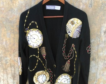 Vintage 1990s Black Marissa Christina Sequin Beaded Rhinestone Time Sweater Jacket Size Medium