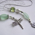 Dainty Dragonfly Boomark in Pale Green Matte Glass - Beaded Book Thong with Silver and Pearl Accents