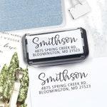 Custom Address Stamp    Self Inking return address stamp   Calligraphy personalized wedding address stamp   Personalize - Smithson