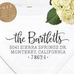 Custom Address Stamp | Self Inking or Eco Mount | Wedding address stamp | Housewarming Gift | Personalized Return Address Stamp - Bartlett