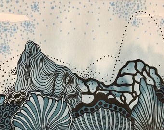 Intertidal What If #19 | Abstract Mixed Media on Paper 5x7 | Imagined Landscape