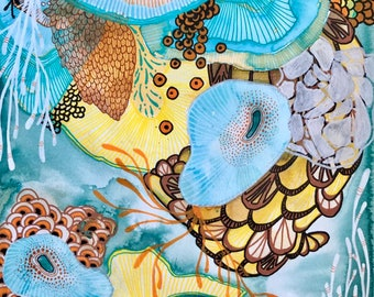 Liminal Reverence #3 | 9x12 Abstract Reef Botanical