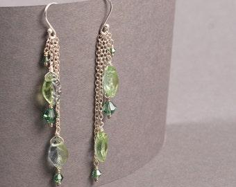 Leaves Earrings - Leaf Earrings - Dangle Earrings - Elven Earrings - Silver Learf Earrings - Nature Earrings